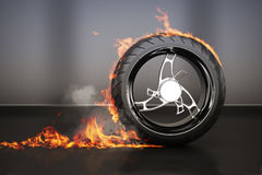 Tire burnout with flames smoke and debris,concept. 3d model with custom rim vector illustration