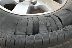 Tire burst Royalty Free Stock Images