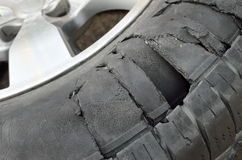 Tire burst Royalty Free Stock Photo