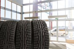 Tire. Car Store Repairing Stack Service Backgrounds Royalty Free Stock Photography