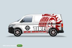 Tire center. Delivery van template. With advertise, editable layout. HiRes, Vector EPS10 file. 100% Layered and editable. Good for all sizes royalty free illustration