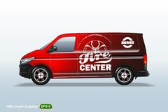 Tire center. Red Delivery van template. With advertise, editable layout. With advertise, editable layout. HiRes Vector Graphics stock illustration