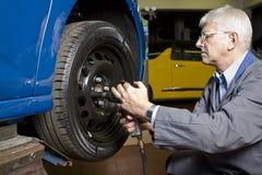 Tire change Stock Photo