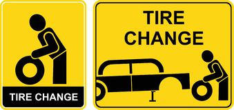 Tire change sign Stock Image