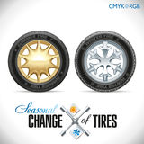 Tire Change Winter and Summer Wheels for the Car Stock Photos