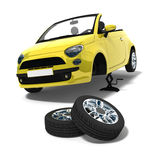 Tire changing. Yellow car and tire changing on white background royalty free illustration