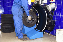 Tire checkup Royalty Free Stock Image