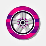 Tire with colorful triangles Royalty Free Stock Images