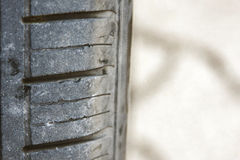 Tire consumed. After a long travel Royalty Free Stock Images