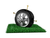 Tire is damaged by nails. 3d render. Ing Royalty Free Stock Image