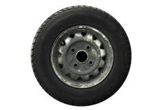 Tire-direct. An old tire facing straight on stock photography