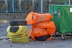 Tire disposal. Disposal of rejected tires at street Royalty Free Stock Image