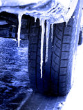Tire Driving in Snow and Ice Royalty Free Stock Images