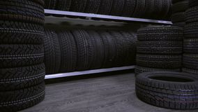The tire fell off the shelf to the floor stock video footage