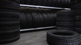 The tire fell off the shelf to the floor stock video