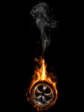 Tire on fire. A burning tire with rim. (3D render Stock Photography