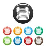 Tire fitting icons set color vector. Tire fitting icon. Simple illustration of tire fitting vector icons set color isolated on white Royalty Free Stock Image