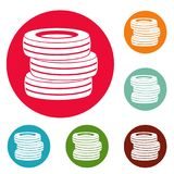 Tire fitting icons circle set vector. Isolated on white background Royalty Free Stock Photo