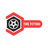 Tire fitting logo with wrench. Concept of 24 hour support, protector, auto station, maintenance, machine disk. isolated on white background. flat style trend Stock Image