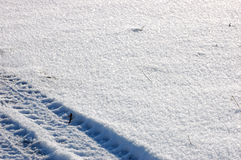 Tire footprint. Over clear snow Stock Photography