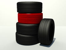 Tire four pieces and one red Stock Image