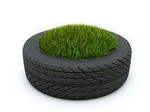 Tire with grass Stock Photography