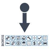 Tire hacia abajo el icono plano del Glyph con prima Imagenes de archivo