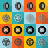 Tire Icon Flat. Car and truck tire service installation icon flat set  vector illustration Stock Photos