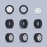 Tire icon set Royalty Free Stock Photo