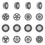 Tire Icon Set. Tire car auto montage service black silhouette icons set isolated vector illustration Royalty Free Stock Photos