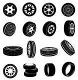 Tire icons set Royalty Free Stock Photo
