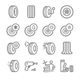 Tire icons set Stock Photos