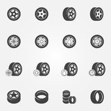 Tire icons vector set Royalty Free Stock Image