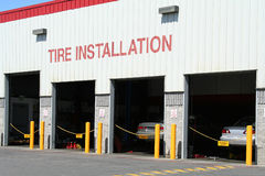 Tire Installation. A photo of a tire installation company Royalty Free Stock Photography