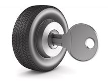 Tire with key on white background. Isolated 3D illustration.  Stock Photography