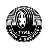 Tyre shop and service logo design template. Tire Shop Logo. Vector and illustration. stock illustration