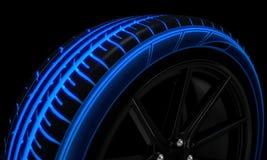 Free Tire Luminous Tread And Dark Background Stock Image - 101016391