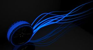Tire Luminous Tread and Glowing Wake. A modern sporty low profile tire with blue futuristic glowing patterns and glowing light trails on a dark moody studio vector illustration