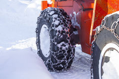 Tire machines for snow removal on Kamchatka Stock Photography
