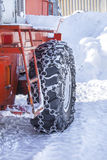 Tire machines for snow removal on Kamchatka Stock Images
