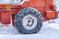 Tire machines for snow removal on Kamchatka Royalty Free Stock Photography