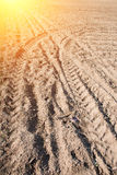 Tire mark. On arable land Stock Photography