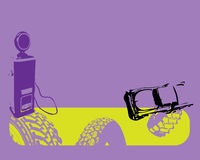 Tire marks and car. Abstract illustration with tire marks and car shape near a gas station Stock Image