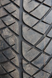 Tire marks, old and dirty black tyres tread pattern, for car, close-up Stock Photos
