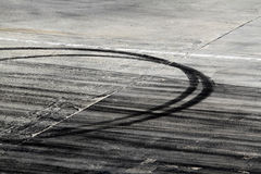 Tire marks on road track stock images