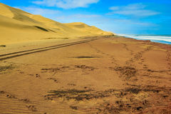 Tire marks on the sand between the ocean and the desert dunes Stock Photography