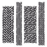 Tire marks. In various patterns, lengths and widths isolated on white Stock Images