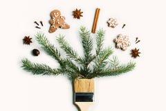 Tire-me conceito criativo da composição do feriado de inverno do ano novo do Natal fotografia de stock