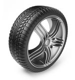 Tire with metal wheel. 3D Icon. On white background Royalty Free Stock Photos