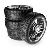 Tire with metal wheel. 3D Icon. On white background Stock Images